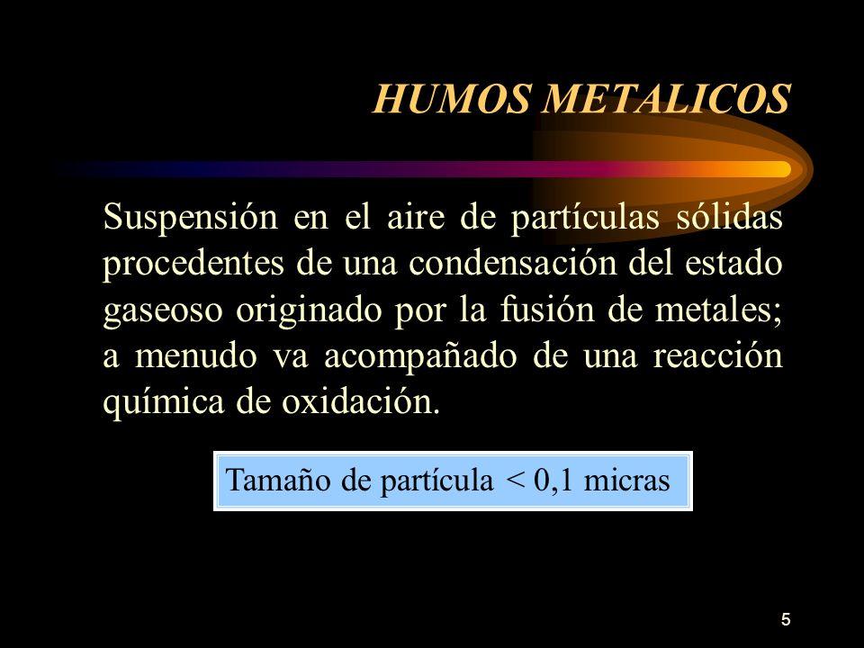 5 Suspensión en el aire de partículas sólidas procedentes de una condensación del estado gaseoso originado por la fusión de metales; a menudo va acompañado de una reacción química de oxidación.