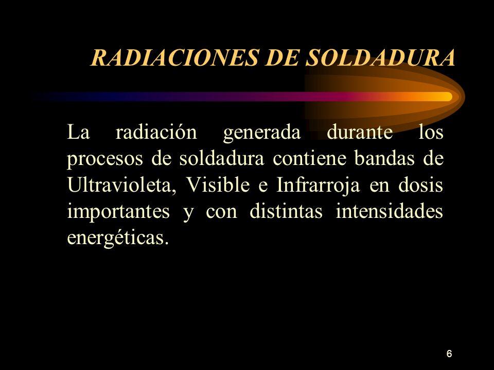 6 La radiación generada durante los procesos de soldadura contiene bandas de Ultravioleta, Visible e Infrarroja en dosis importantes y con distintas intensidades energéticas.