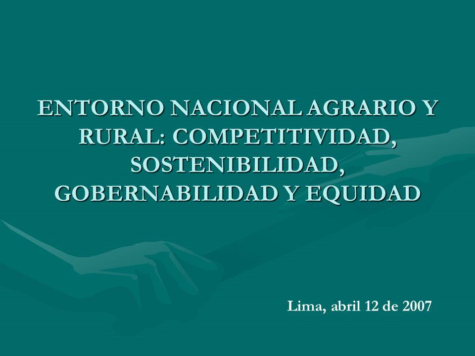 ENTORNO NACIONAL AGRARIO Y RURAL: COMPETITIVIDAD, SOSTENIBILIDAD, GOBERNABILIDAD Y EQUIDAD Lima, abril 12 de 2007
