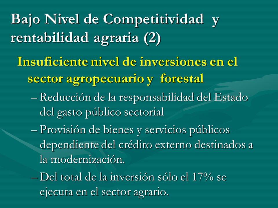 Insuficiente nivel de inversiones en el sector agropecuario y forestal –Reducción de la responsabilidad del Estado del gasto público sectorial –Provisión de bienes y servicios públicos dependiente del crédito externo destinados a la modernización.