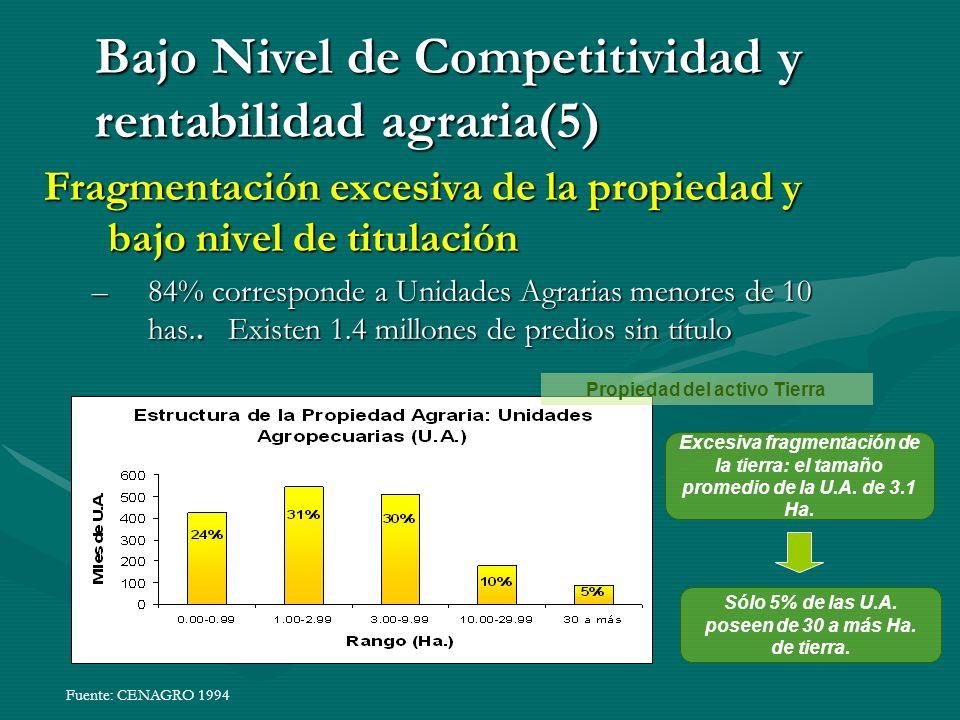 Fragmentación excesiva de la propiedad y bajo nivel de titulación –84% corresponde a Unidades Agrarias menores de 10 has..