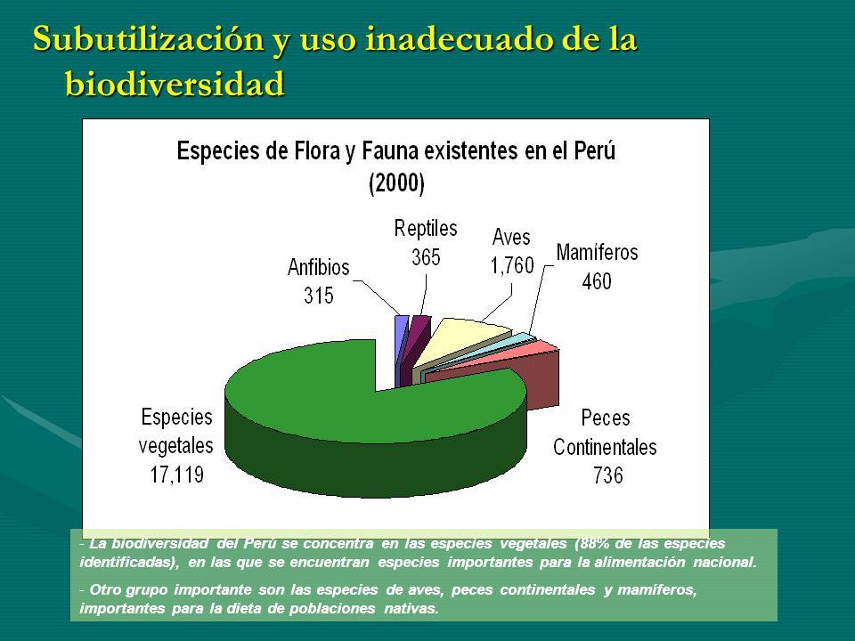Subutilización y uso inadecuado de la biodiversidad Fuente: INRENA.
