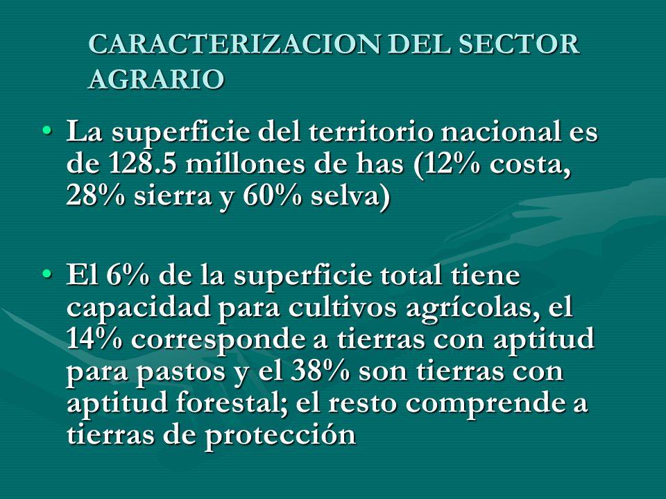 CARACTERIZACION DEL SECTOR AGRARIO La superficie del territorio nacional es de 128.5 millones de has (12% costa, 28% sierra y 60% selva)La superficie del territorio nacional es de 128.5 millones de has (12% costa, 28% sierra y 60% selva) El 6% de la superficie total tiene capacidad para cultivos agrícolas, el 14% corresponde a tierras con aptitud para pastos y el 38% son tierras con aptitud forestal; el resto comprende a tierras de protecciónEl 6% de la superficie total tiene capacidad para cultivos agrícolas, el 14% corresponde a tierras con aptitud para pastos y el 38% son tierras con aptitud forestal; el resto comprende a tierras de protección