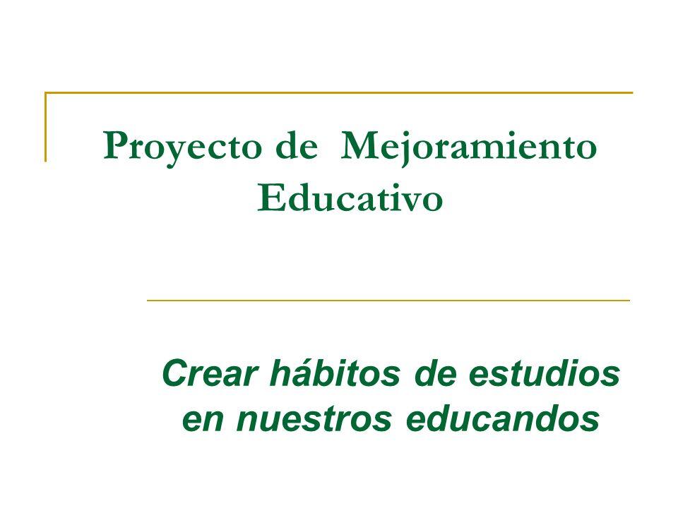 Proyecto de Mejoramiento Educativo Crear hábitos de estudios en nuestros educandos