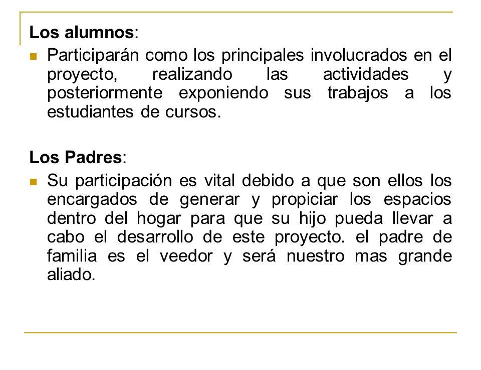 Los alumnos: Participarán como los principales involucrados en el proyecto, realizando las actividades y posteriormente exponiendo sus trabajos a los