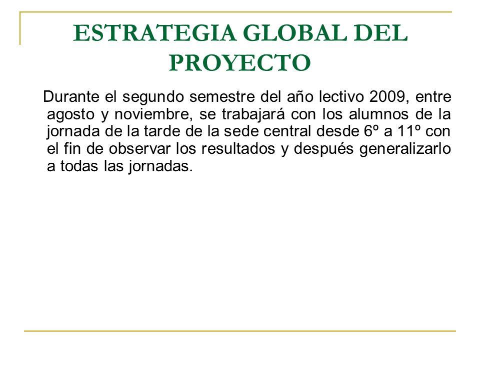 ESTRATEGIA GLOBAL DEL PROYECTO Durante el segundo semestre del año lectivo 2009, entre agosto y noviembre, se trabajará con los alumnos de la jornada