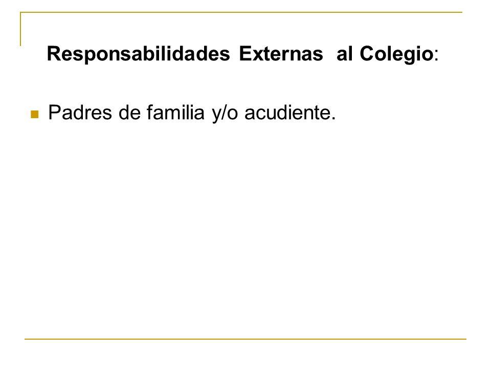 Responsabilidades Externas al Colegio: Padres de familia y/o acudiente.