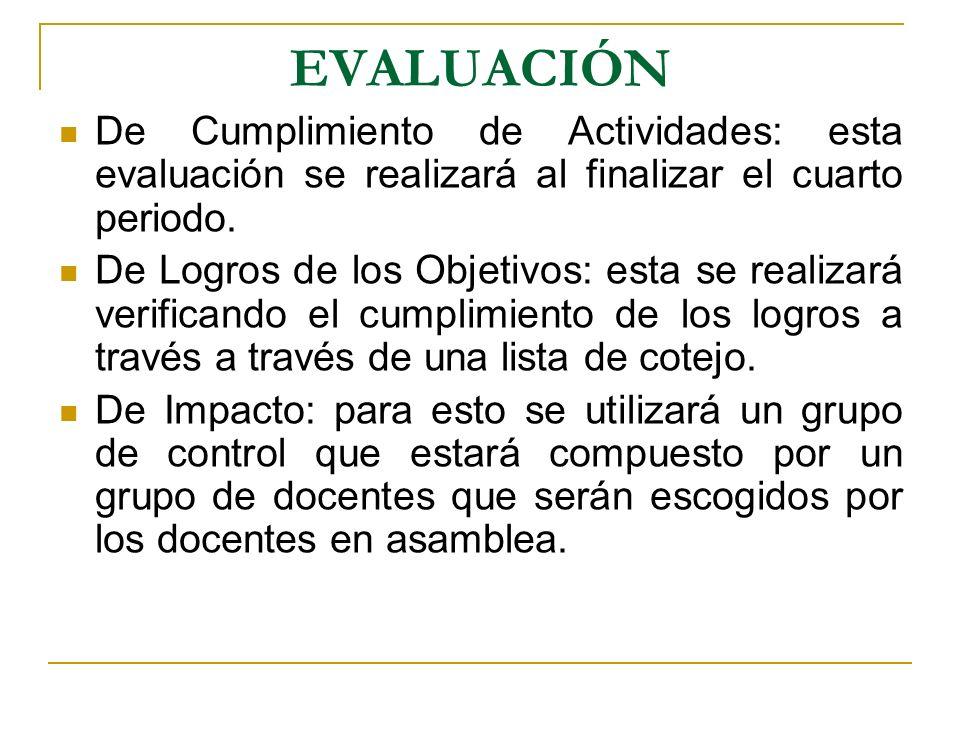 EVALUACIÓN De Cumplimiento de Actividades: esta evaluación se realizará al finalizar el cuarto periodo. De Logros de los Objetivos: esta se realizará