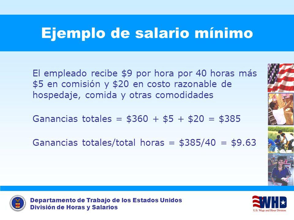 Departamento de Trabajo de los Estados Unidos División de Horas y Salarios Ejemplo de salario mínimo El empleado recibe $9 por hora por 40 horas más $
