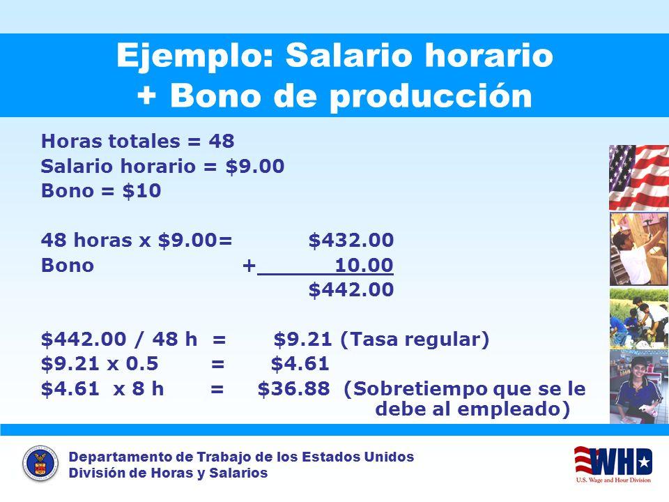 Departamento de Trabajo de los Estados Unidos División de Horas y Salarios Ejemplo: Salario horario + Bono de producción Horas totales = 48 Salario ho