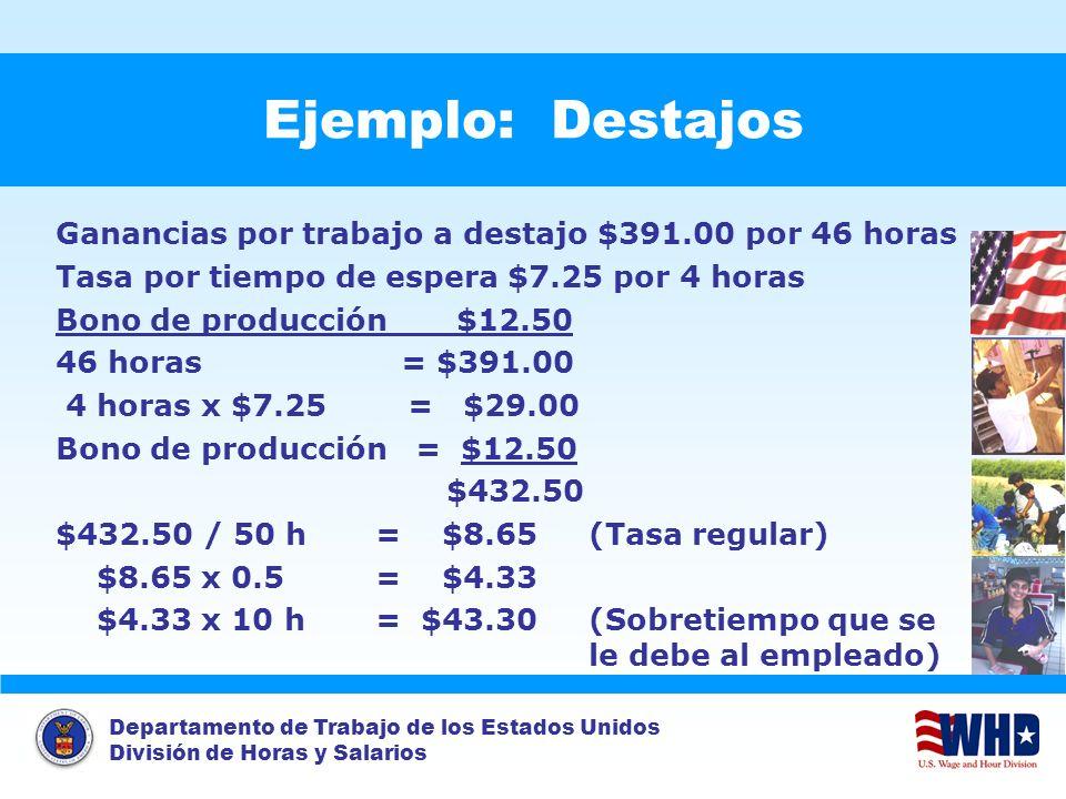 Departamento de Trabajo de los Estados Unidos División de Horas y Salarios Example: Piece Rates Ejemplo: Destajos Ganancias por trabajo a destajo $391