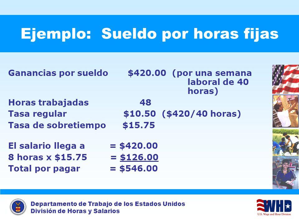Departamento de Trabajo de los Estados Unidos División de Horas y Salarios Ejemplo: Sueldo por horas fijas Ganancias por sueldo$420.00 (por una semana