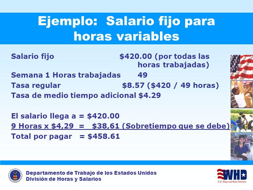 Departamento de Trabajo de los Estados Unidos División de Horas y Salarios Ejemplo: Salario fijo para horas variables Salario fijo $420.00 (por todas