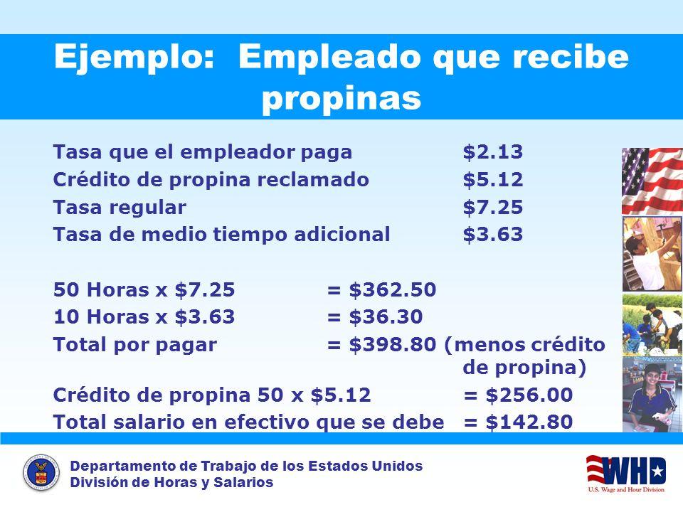 Departamento de Trabajo de los Estados Unidos División de Horas y Salarios Ejemplo: Empleado que recibe propinas Tasa que el empleador paga$2.13 Crédi