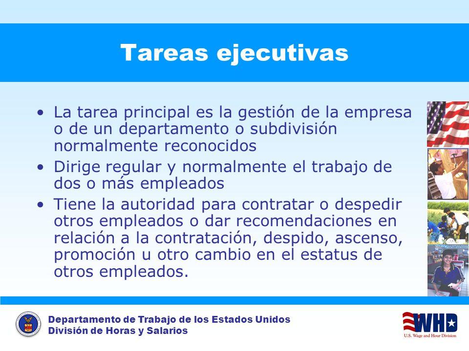 Departamento de Trabajo de los Estados Unidos División de Horas y Salarios Tareas ejecutivas La tarea principal es la gestión de la empresa o de un de