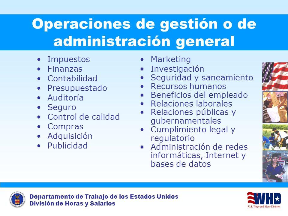 Departamento de Trabajo de los Estados Unidos División de Horas y Salarios Operaciones de gestión o de administración general Impuestos Finanzas Conta