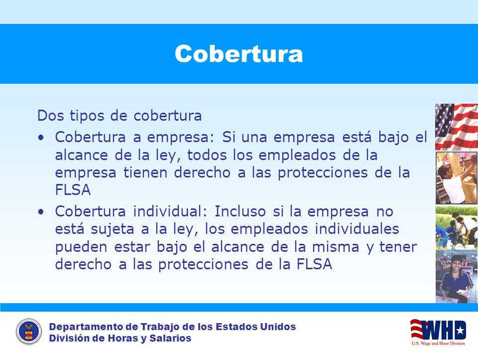 Departamento de Trabajo de los Estados Unidos División de Horas y Salarios Cobertura Dos tipos de cobertura Cobertura a empresa: Si una empresa está b