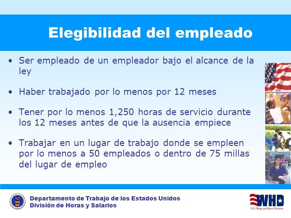 Departamento de Trabajo de los Estados Unidos División de Horas y Salarios Elegibilidad del empleado Ser empleado de un empleador bajo el alcance de l