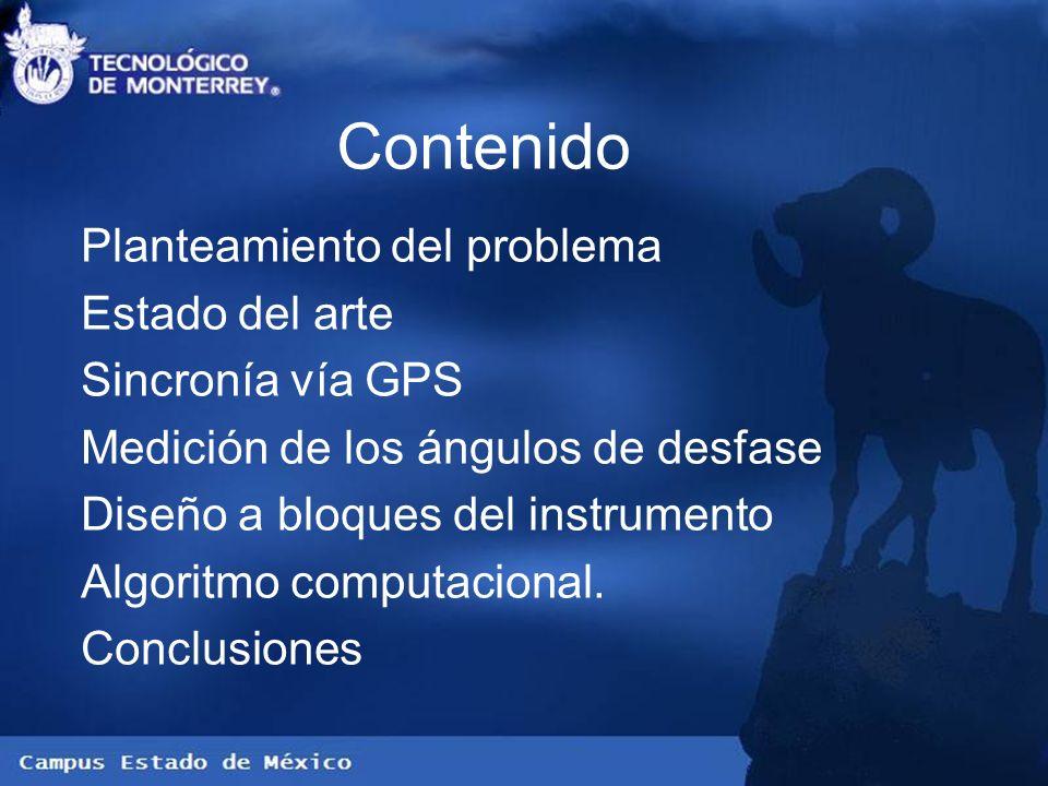 Contenido Planteamiento del problema Estado del arte Sincronía vía GPS Medición de los ángulos de desfase Diseño a bloques del instrumento Algoritmo c