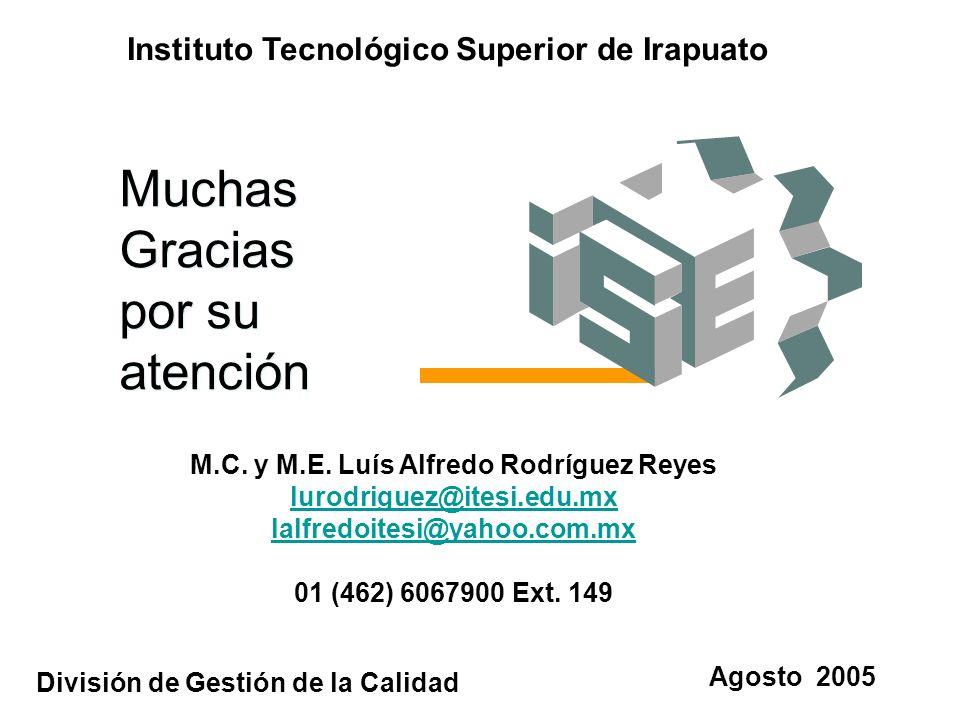 Muchas Gracias por su atención Agosto 2005 Instituto Tecnológico Superior de Irapuato División de Gestión de la Calidad M.C. y M.E. Luís Alfredo Rodrí