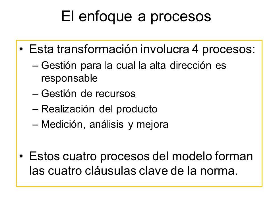 El enfoque a procesos Esta transformación involucra 4 procesos: –Gestión para la cual la alta dirección es responsable –Gestión de recursos –Realizaci