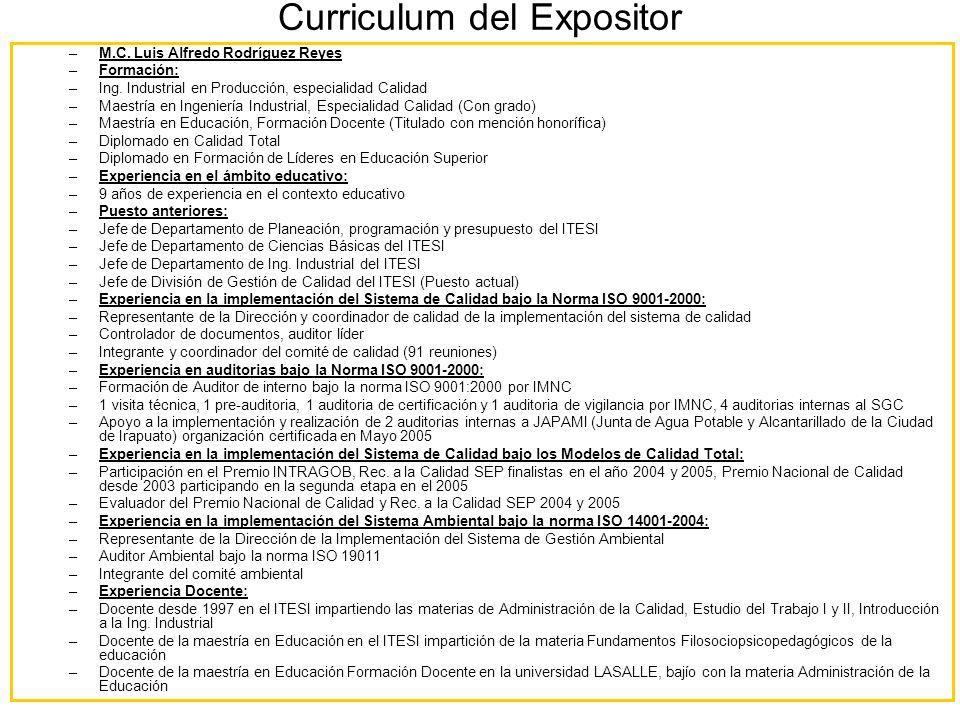 Curriculum del Expositor –M.C. Luis Alfredo Rodríguez Reyes –Formación: –Ing. Industrial en Producción, especialidad Calidad –Maestría en Ingeniería I