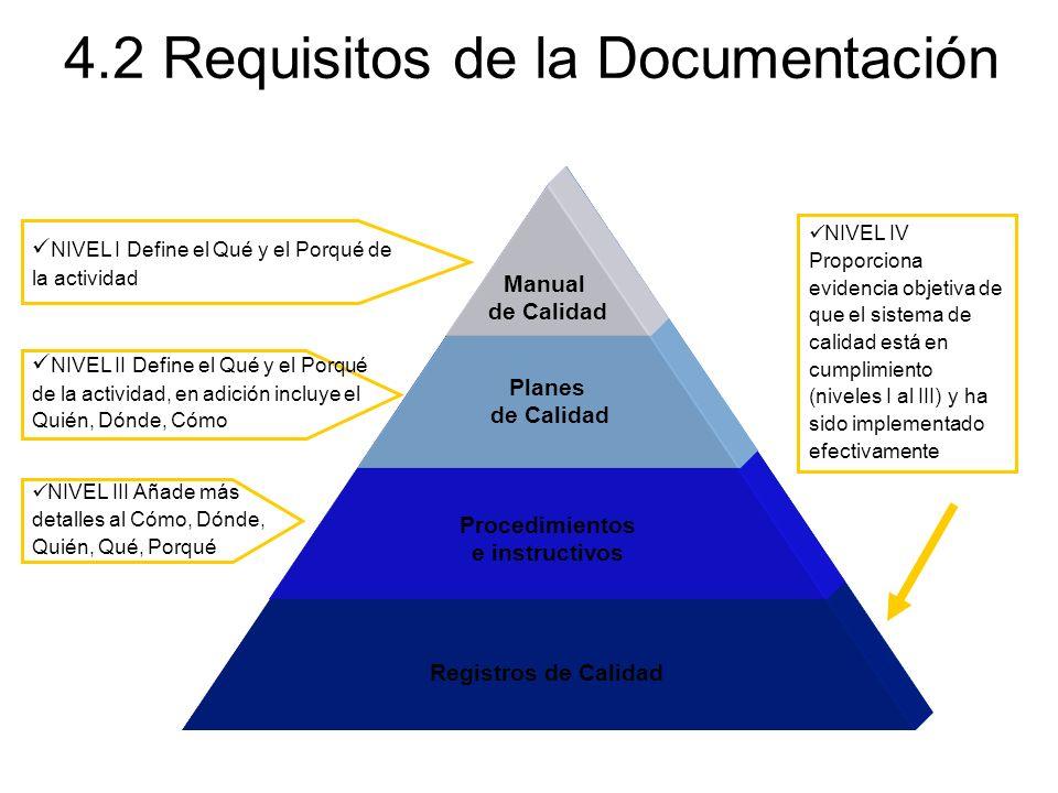 Manual de Calidad Planes de Calidad Procedimientos e instructivos Registros de Calidad 4.2 Requisitos de la Documentación NIVEL IV Proporciona evidenc