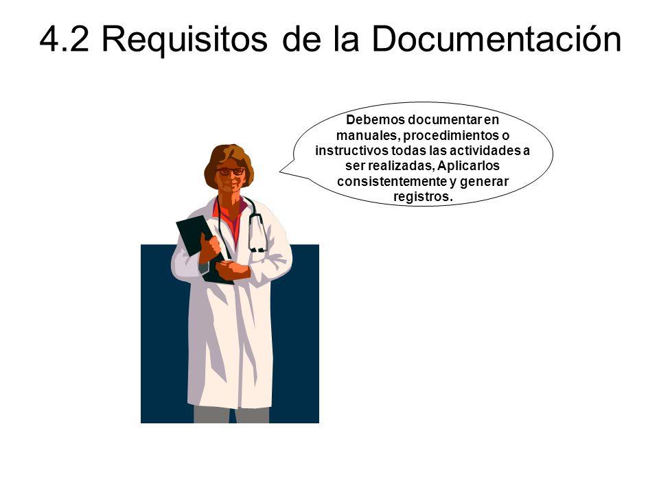 4.2 Requisitos de la Documentación Debemos documentar en manuales, procedimientos o instructivos todas las actividades a ser realizadas, Aplicarlos co
