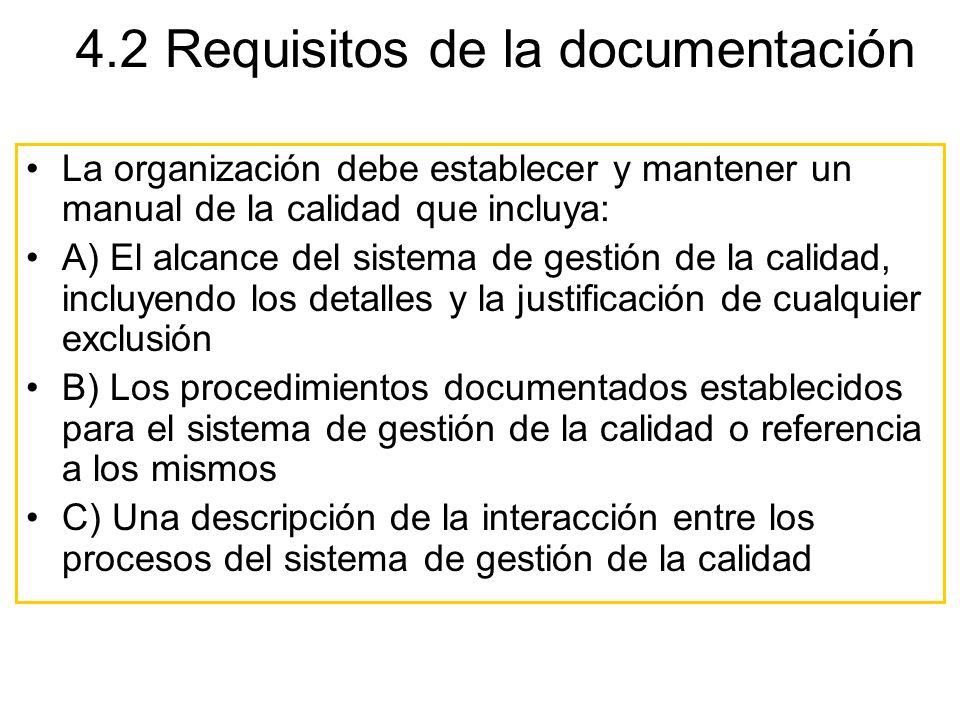 4.2 Requisitos de la documentación La organización debe establecer y mantener un manual de la calidad que incluya: A) El alcance del sistema de gestió
