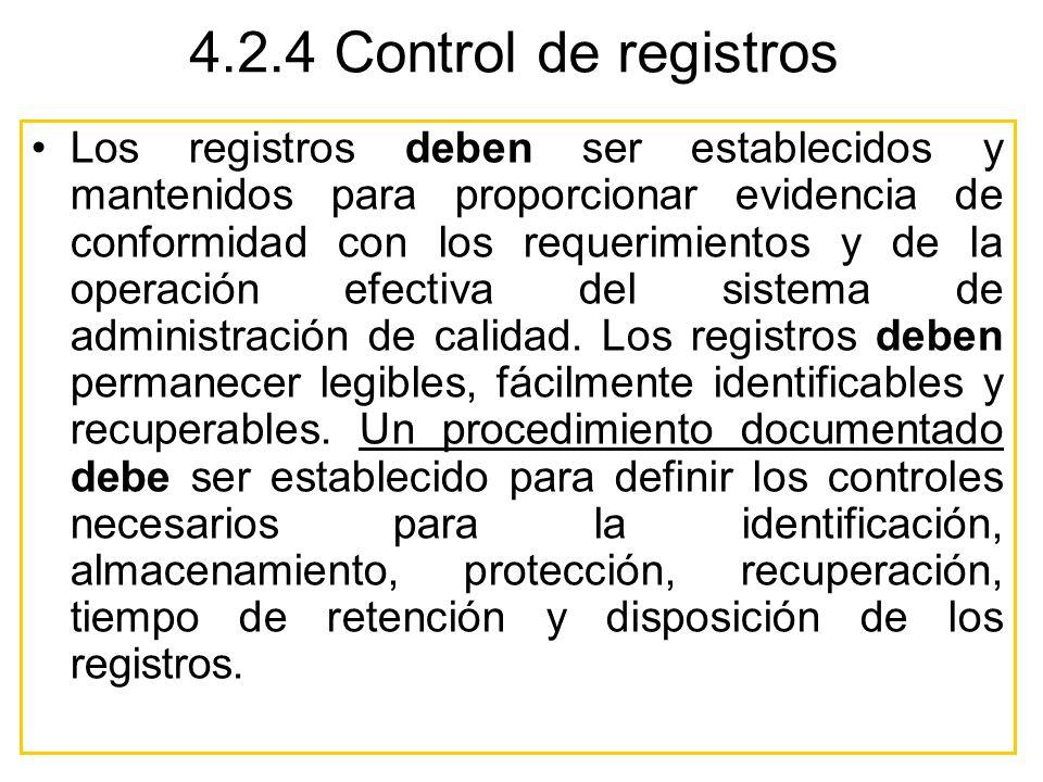 4.2.4 Control de registros Los registros deben ser establecidos y mantenidos para proporcionar evidencia de conformidad con los requerimientos y de la