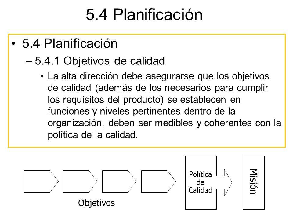 Misión Política de Calidad Objetivos 5.4 Planificación –5.4.1 Objetivos de calidad La alta dirección debe asegurarse que los objetivos de calidad (ade