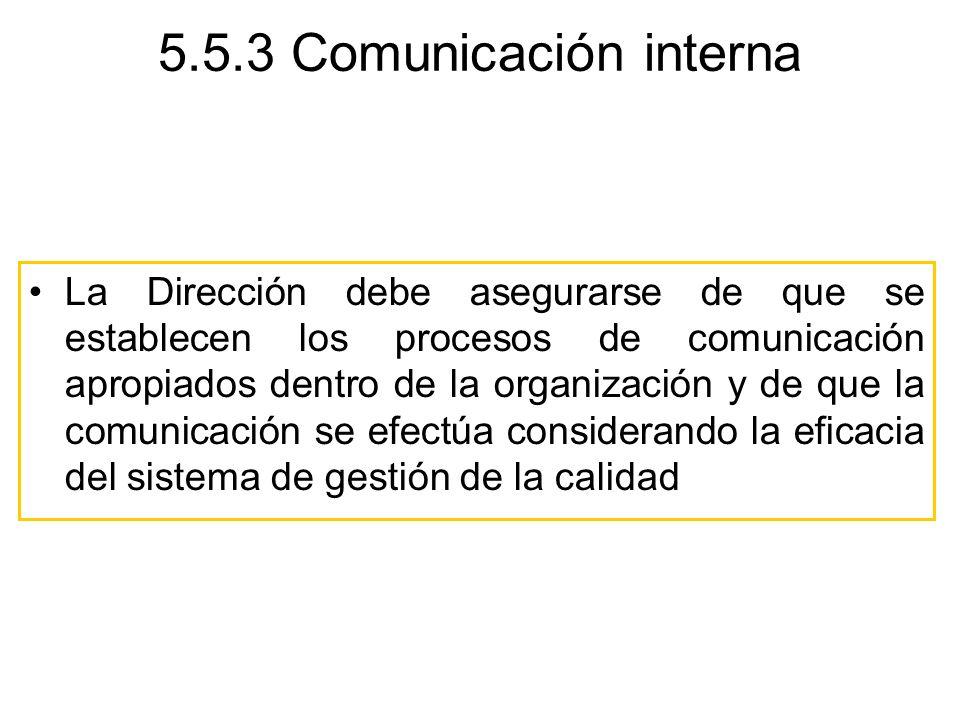 5.5.3 Comunicación interna La Dirección debe asegurarse de que se establecen los procesos de comunicación apropiados dentro de la organización y de qu