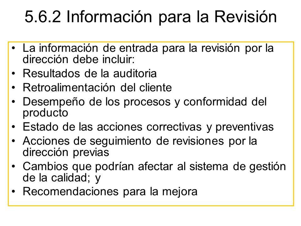 5.6.2 Información para la Revisión La información de entrada para la revisión por la dirección debe incluir: Resultados de la auditoria Retroalimentac