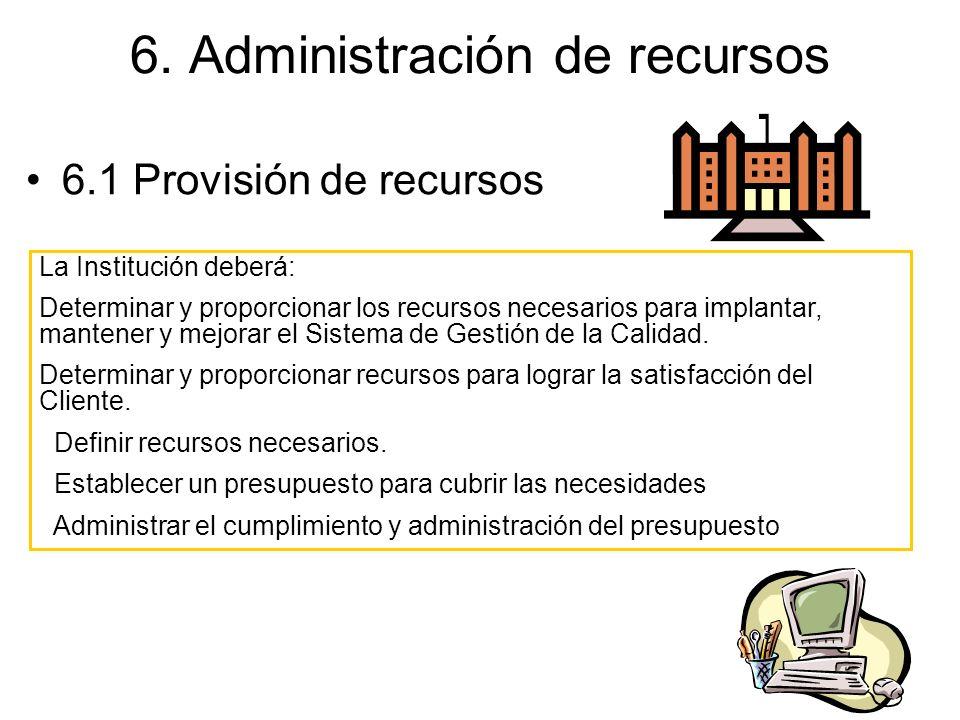 6. Administración de recursos 6.1 Provisión de recursos La Institución deberá: Determinar y proporcionar los recursos necesarios para implantar, mante