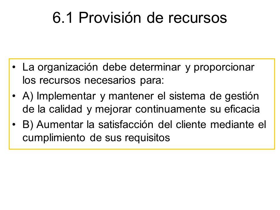 6.1 Provisión de recursos La organización debe determinar y proporcionar los recursos necesarios para: A) Implementar y mantener el sistema de gestión