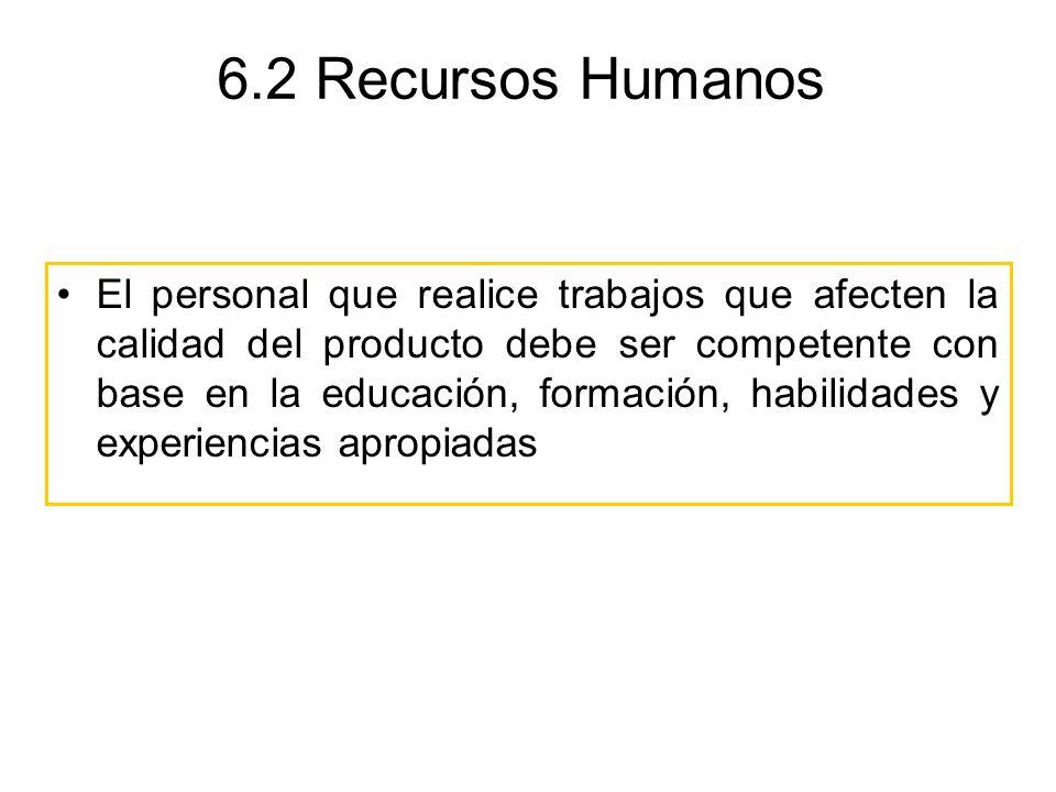 6.2 Recursos Humanos El personal que realice trabajos que afecten la calidad del producto debe ser competente con base en la educación, formación, hab