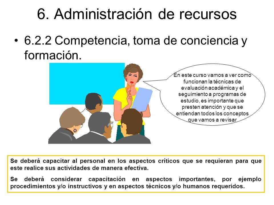 6. Administración de recursos 6.2.2 Competencia, toma de conciencia y formación. Se deberá capacitar al personal en los aspectos críticos que se requi