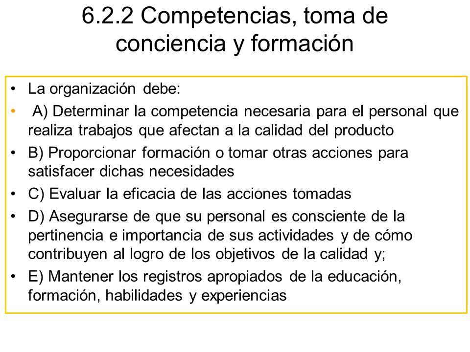 6.2.2 Competencias, toma de conciencia y formación La organización debe: A) Determinar la competencia necesaria para el personal que realiza trabajos