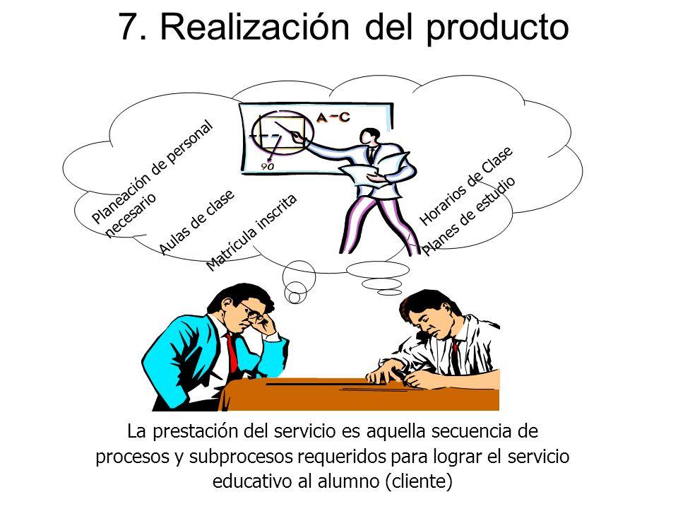 7. Realización del producto La prestación del servicio es aquella secuencia de procesos y subprocesos requeridos para lograr el servicio educativo al