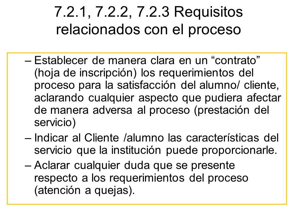 7.2.1, 7.2.2, 7.2.3 Requisitos relacionados con el proceso –Establecer de manera clara en un contrato (hoja de inscripción) los requerimientos del pro