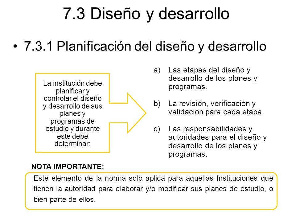 7.3 Diseño y desarrollo 7.3.1 Planificación del diseño y desarrollo La institución debe planificar y controlar el diseño y desarrollo de sus planes y