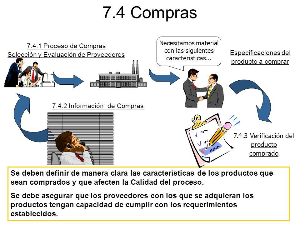 7.4 Compras Se deben definir de manera clara las características de los productos que sean comprados y que afecten la Calidad del proceso. Se debe ase