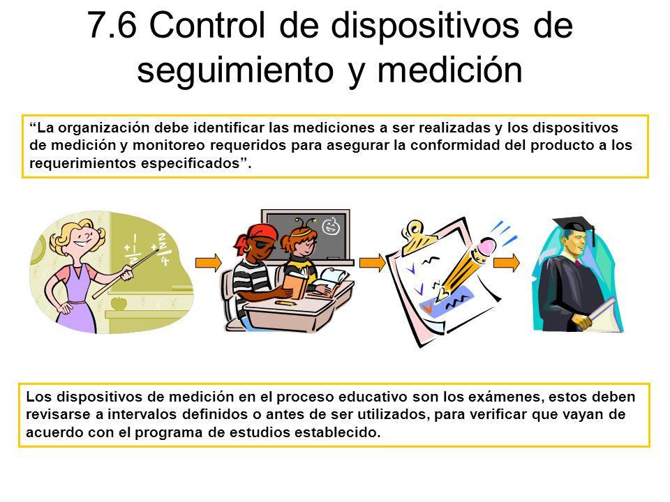 7.6 Control de dispositivos de seguimiento y medición Los dispositivos de medición en el proceso educativo son los exámenes, estos deben revisarse a i
