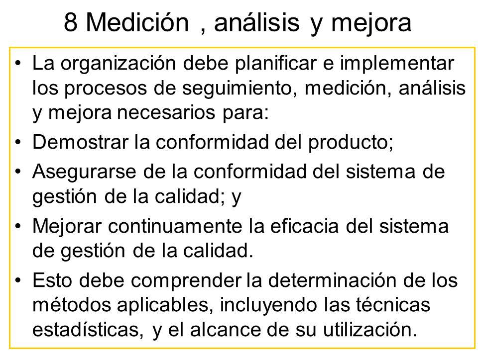 La organización debe planificar e implementar los procesos de seguimiento, medición, análisis y mejora necesarios para: Demostrar la conformidad del p