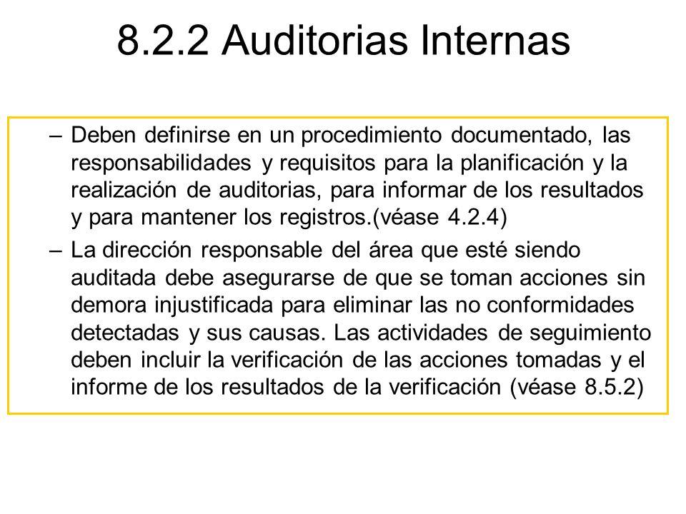 8.2.2 Auditorias Internas –Deben definirse en un procedimiento documentado, las responsabilidades y requisitos para la planificación y la realización