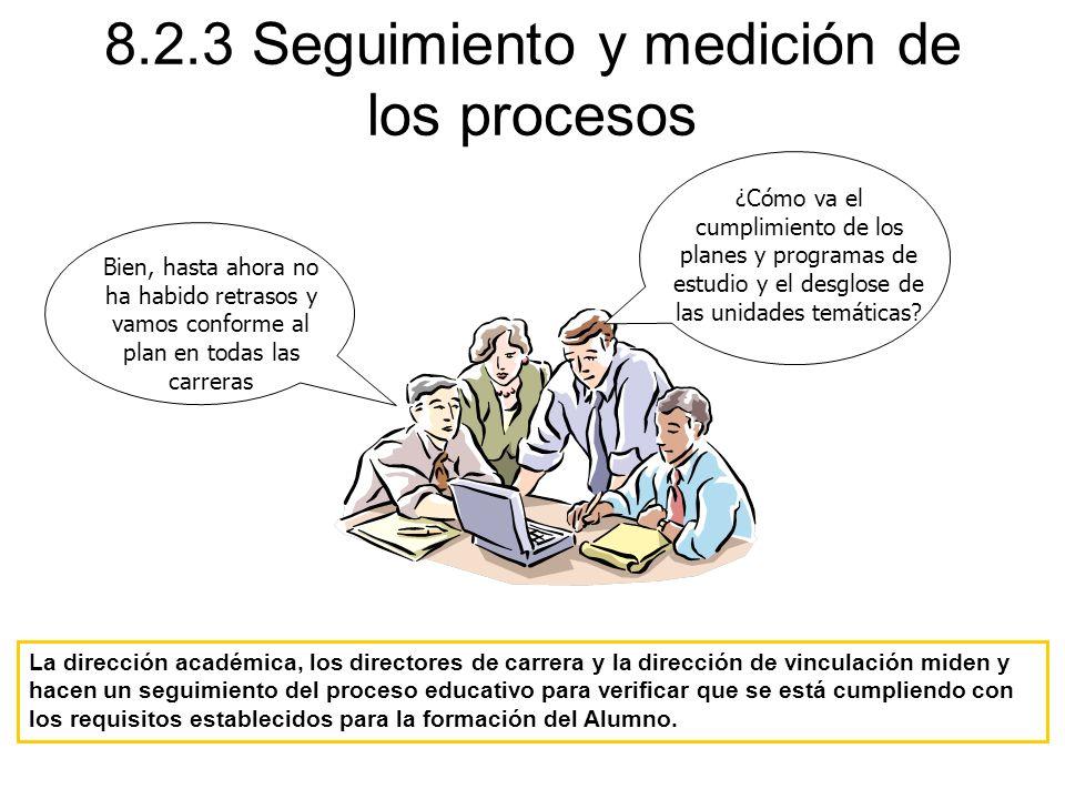 8.2.3 Seguimiento y medición de los procesos La dirección académica, los directores de carrera y la dirección de vinculación miden y hacen un seguimie