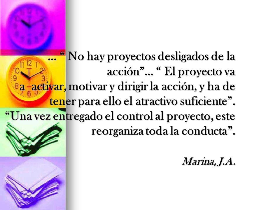 … No hay proyectos desligados de la acción… El proyecto va a activar, motivar y dirigir la acción, y ha de tener para ello el atractivo suficiente. Un