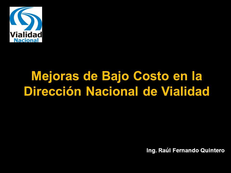Mejoras de Bajo Costo en la Dirección Nacional de Vialidad Ing. Raúl Fernando Quintero