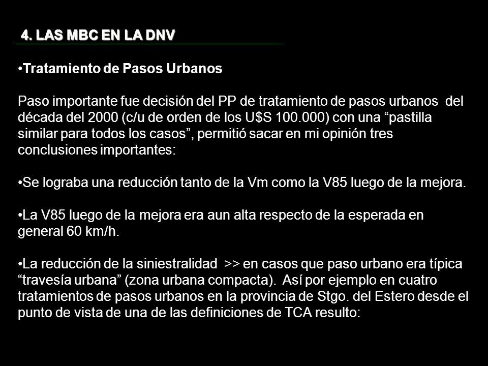 4. LAS MBC EN LA DNV Tratamiento de Pasos Urbanos Paso importante fue decisión del PP de tratamiento de pasos urbanos del década del 2000 (c/u de orde