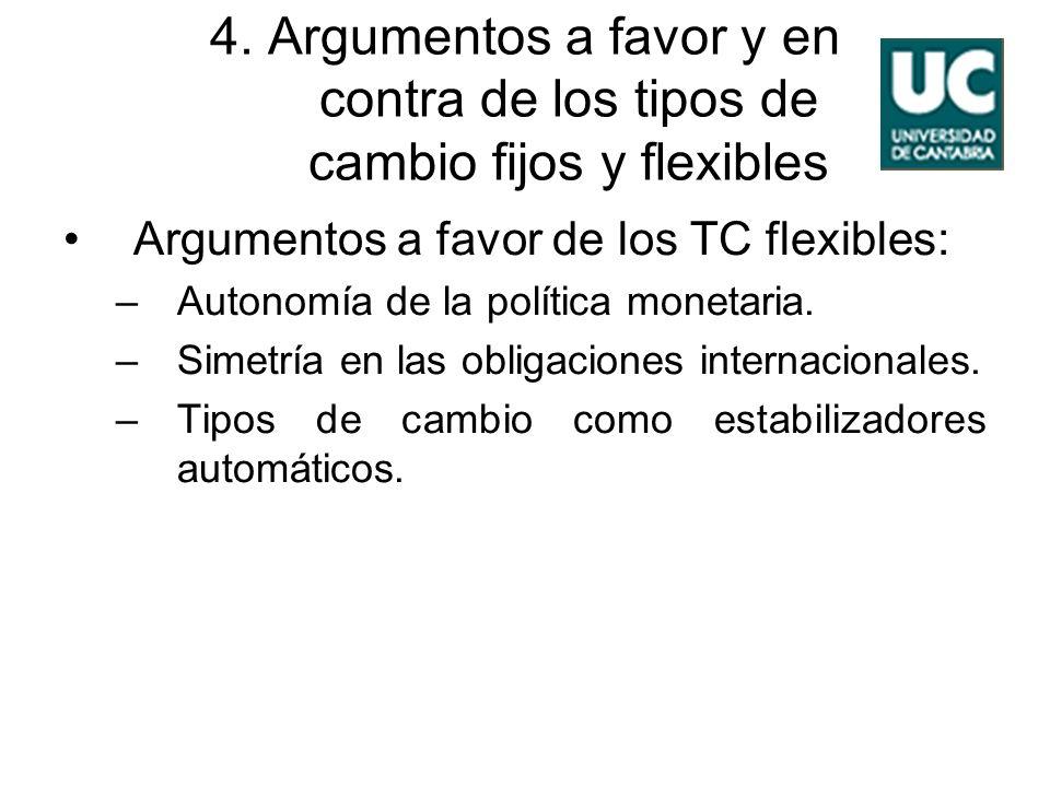 4. Argumentos a favor y en contra de los tipos de cambio fijos y flexibles Argumentos a favor de los TC flexibles: –Autonomía de la política monetaria